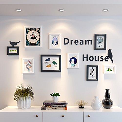 Foto Wand Foto Wand Dekor Ideen Wohnzimmer Schlafzimmer Hintergrund Wand einen Frame, der an der Wand runde, schwarz-weiß + Buchstaben