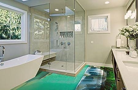3d Fußboden Aufkleber ~ Ruvitex d belag dekor boden badezimmer vinyl pvc teppich