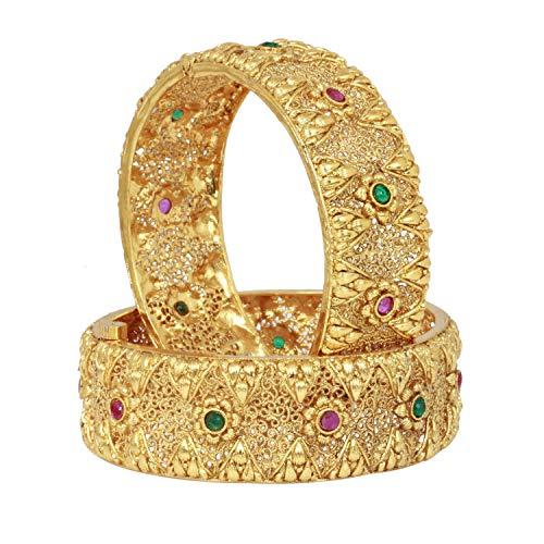 SANARA Traditional Women Wedding Gold Plated Ruby Green Indian Bollywood Bridal Polki Bangle Bracelet Set Jewelry -
