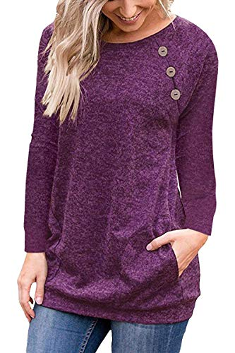 Meyeeka Casual Sweatshirt Women's Long Sleeve Scoop Neck Button Side Shirt Blouse Tunic S Purple