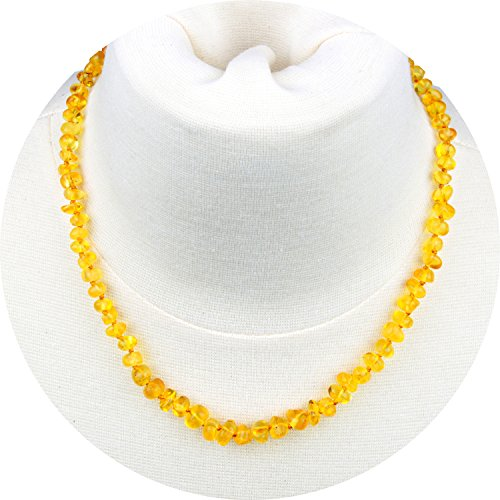 Baltic Amber Necklace for Adult (Unisex, Honey, 18 Inches) Lab-Tested, 100% Certified Baltic Amber - All Natural Pain Relief & Anti-Inflammatory For Migraine, Sinus, Arthritis & More!
