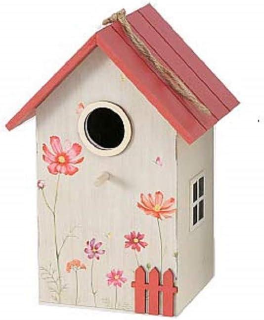 CasaJame Hogar Accesorios Decoración Jardín Casa para Pájaros Beige con Techo Rojo Decoración Floral 15x12x22cm: Amazon.es: Productos para mascotas