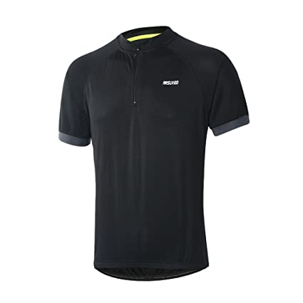 f5cf5d6ba ARSUXEO Men s Cycling Jerseys Short Sleeves MTB Bike Shirt 635 Black Size  Small