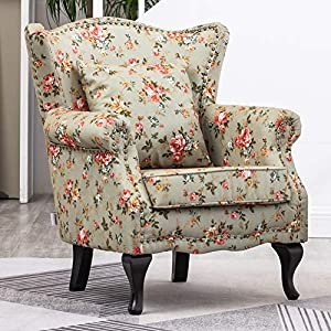WarmiehHomy Occasional Wing Back Armchair Soft Sanded Fabric Floral Pattern Fireside Accent Chair with Solid Wood Legs for Living Room Bedroom
