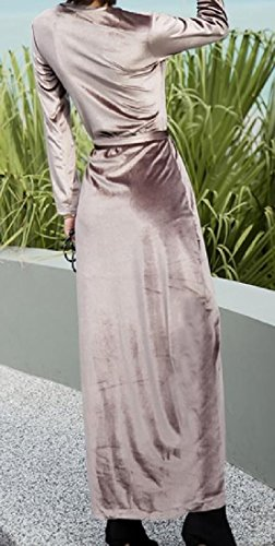 Dress Length Out Mid Cut Coolred Stylish Sexy Light Women's Pink Velvet Autumn xxqTzS