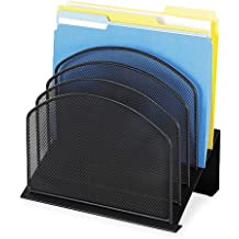Safco Products 3257BL Onyx Mesh Desktop Organizer with 5 Tiered Sections, Black