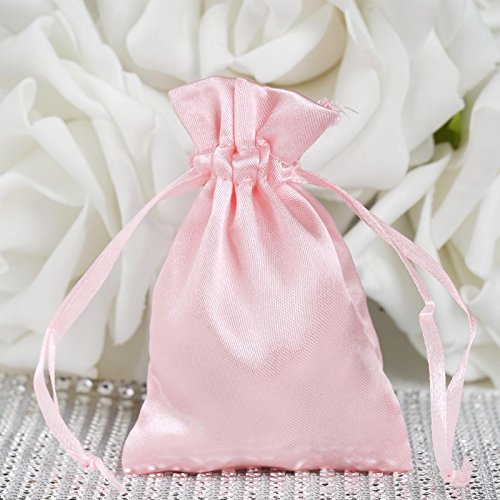 BalsaCircle 60 pcs 3x3.5-Inch Blush Satin Drawstring Bags - Wedding Party Favors Jewelry Pouch Candy Gift Bags