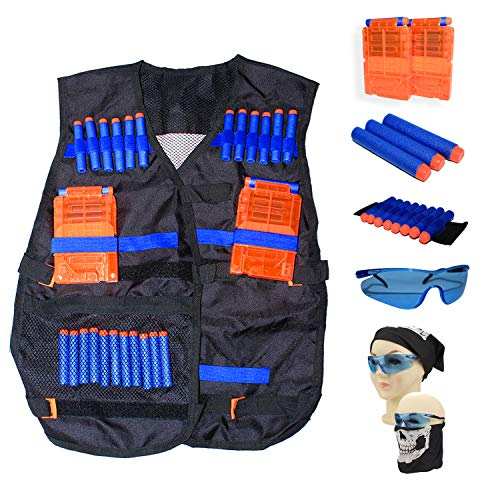 Kids Tactical Vest Kit for Nerf Guns with Quick Reload Clips, Vision Protection, Tube Mask, Wrist Band and Soft Bullet Darts (46 Pieces) ()