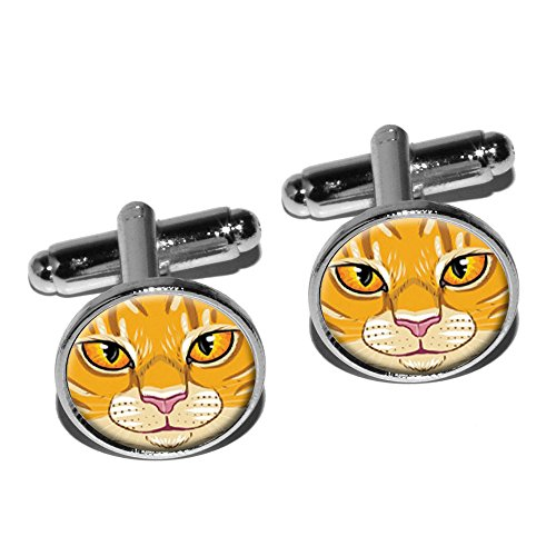 Silver Cat Plated Cufflinks - Orange Tabby Cat Face - Pet Kitty Round Cufflink Set - Silver