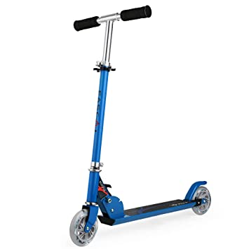 Fascol Patinete Plegable con Dos Ruedas, Patinete Monopatín Scooter para Ciudad niños 3 - 13 años,Azul