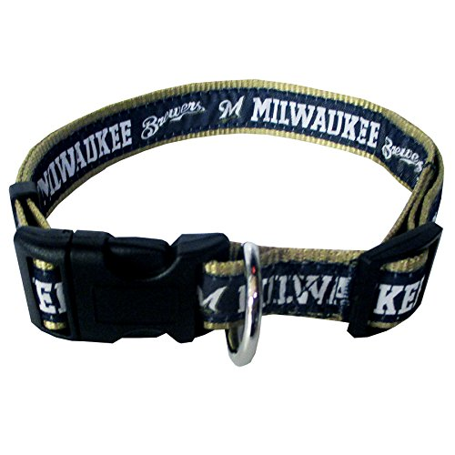 MLB MILWAUKEE BREWERS Dog Collar, - Dog Brewers Milwaukee Jersey
