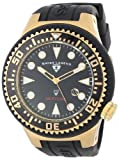 Swiss Legend Men's 21818D-YG-01 Neptune Collection Yellow Gold Ion-Plated Black Rubber Watch, Watch Central