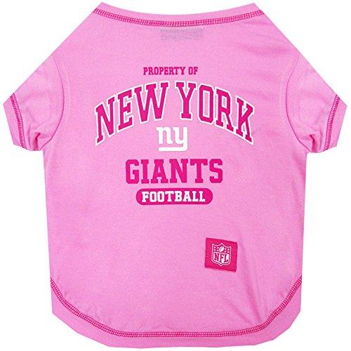 New York Giants Pink Dog T-Shirt, Medium. - Football Sports Fan Pet Shirt.