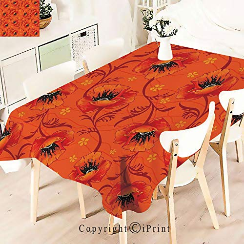 (Rectangle Polyester Tablecloth, Flower Series Blossom Blooming Florals Romance,Vintage Printed and Spill Proof Table Cover for Home and Kitchen,W55 xL55,Burnt Orange Yellow)