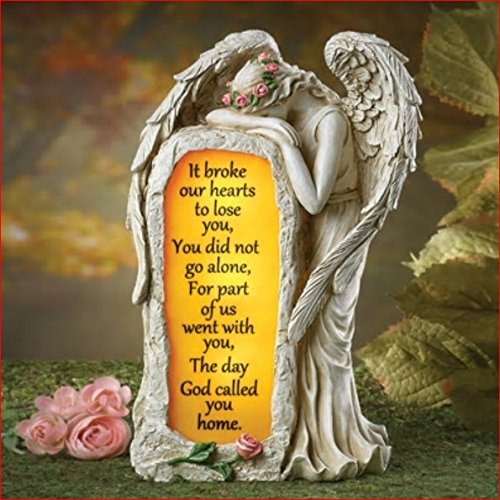 SOLAR WEEPING CRYING ANGEL MEMORIAL STONE GRAVE MARKER