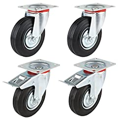 """THESE CASTORS HAVE GOOD SHOCK ABSORBING QUALITIES & ARE SILENT RUNNING ,THEY WILL NOT MARK OR DAMAGE FLOORS,THEY ALSO HAVE A HIGH WEAR RESISTANCE GIVING THEM A LONG LIFE SPAN.Specification: Set of 4 new 5"""" (125 MM) casters tyres 25 MM wid..."""
