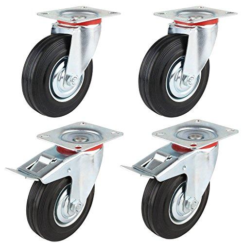 "MVPower 4 Pack 5"" Swivel Caster Wheels Dust Cover Rubber Heavy Duty Castors with 360 Degree Top Plate(5 inch with brake,Black)"