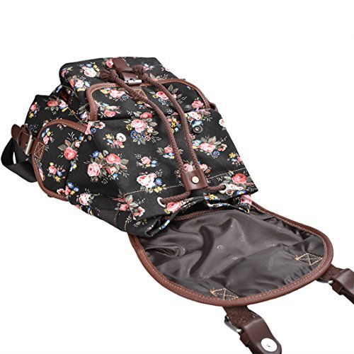 Epokris Black Backpack for Girls Floral School Bags for Girls Backpack Book Bag for Girls Daypack Floral Backpack for teens Girls 163BL