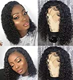BLY Short Curly Bob Wigs Brazilian Virgin Human Hair Lace Front Wigs Kinky Curly Hair 13x4 Lace Part 150% Density Pre Plucked with Baby Hair (12 inch, Kinky Curly Bob)