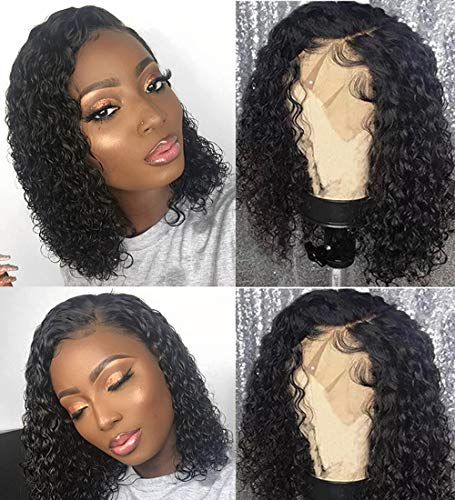 BLY Short Curly Bob Wigs Brazilian Virgin Human Hair Lace Front Wigs Kinky Curly Hair 13x4 Lace Part 150% Density Pre Plucked with Baby Hair (14 inch, Kinky Curly Bob)