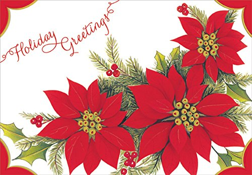 Embossed Poinsettias - Designer Greetings Box of 18 Christmas Cards