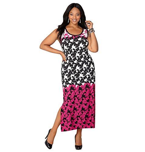 AVENUE Women's Ombre Floral Maxi Dress, 14/16 Black Multi