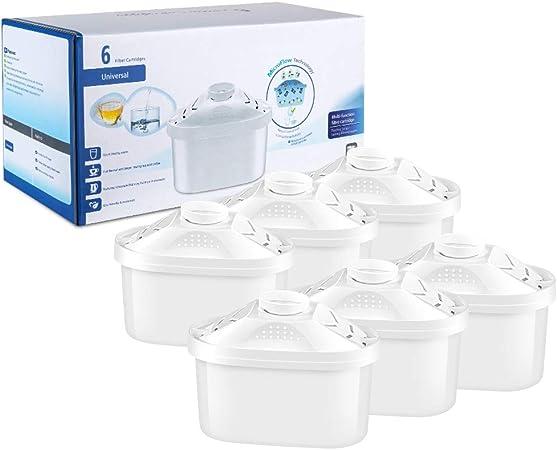 UOON 6 Cartuchos Filtros de Agua Compatible con Jarra BRITA MAXTRA de Color Blanco Segunda Generación Filtro Que reducen la Cal y el Cloro: Amazon.es: Hogar