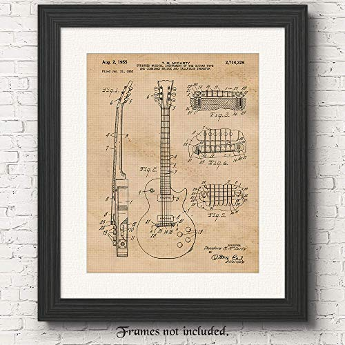 Original Gibson Guitar Patent Art Poster Print- Set of 1 (One 11x14) Unframed Vintage Style Picture- Great Wall Art Decor Gifts Under $15 for Home, Office, Garage, Man Cave, School, Teacher, Musician