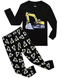 Boys Truck Pajamas Bulldozer Little Kids Pjs Sets 100% Cotton Toddler Sleepwears