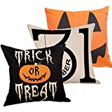 Decemter Trick or Treat Pumpkin Halloween Cotton Linen Home Decor Throw Pillow Covers Set of 3,18×18