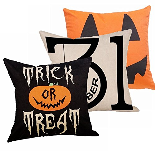 Decemter Trick or Treat Pumpkin Halloween Cotton Linen Home Decor Throw Pillow Covers Set of 3,18×18 ()