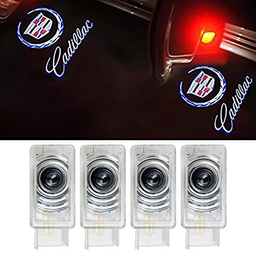 Grolish Cadillac Accessories Car door LED Logo Projector Lights Courtesy Welcome Lights For Cadillac SRX XTS ATS (4 Pack)