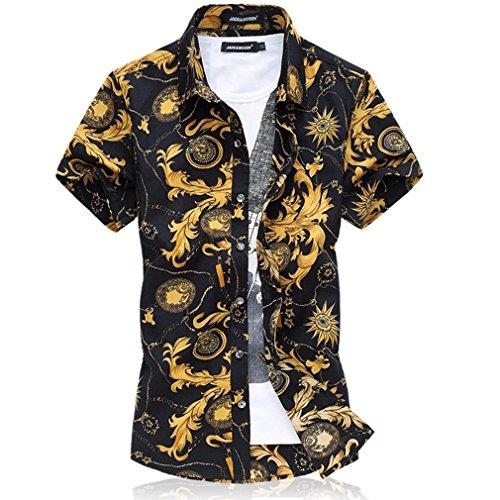 Honghu Camisas Hawaianas Hombre Casual Manga Corta 60% de descuento ... 772f43d7f9