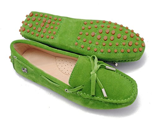 LL STUDIO Womens Casual Bowknot Baby Green Suede/Leather Driving Walking Penny Loafers Boat Shoes 6 M US -  LL STUDIO-YIBU9602-Baby Green-Suede36