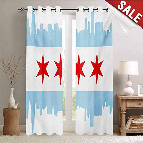 Hengshu Chicago Skyline Customized Curtains City of Chicago Flag with High Rise Buildings Scenery National Blackout Window Curtain W84 x L108 Inch Red White Baby Blue