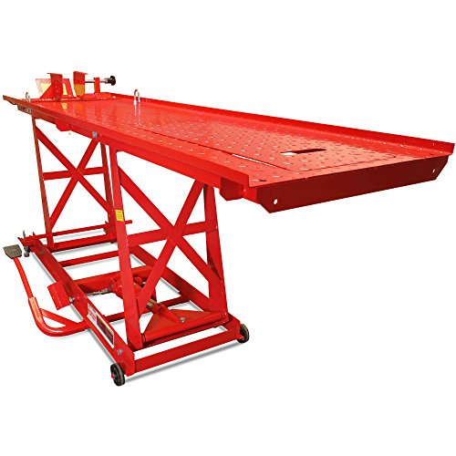 (Titan Ramps 1,000 lb Hydraulic Motorcycle Lift Table Extra Long Heavy Duty)