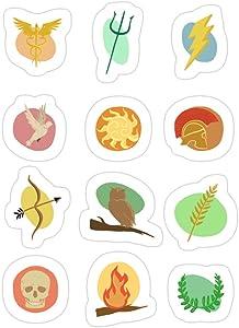 Jess-Sha Store 3 PCs Stickers Greek Gods Mythology Repeat Pattern - Percy Jackson Inspired Sticker for Laptop, Phone, Cars, Vinyl Funny Stickers Decal for Laptops, Guitar, Fridge