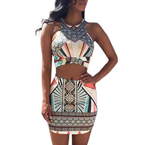Price comparison product image Kanzd Fashion Women Printing Buttocks Camisole Tighten Mini Skirt Two Piece Set (M,  Multicolor)