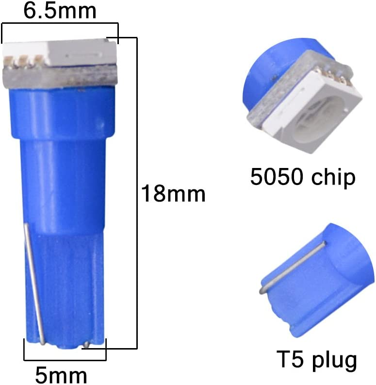 bombillas LED T5 70 73 74 79 85 86 206 406 5050 1SMD blanco 1/W 12/V para interior de coche KaTur paquete de 10 bombillas LED de salpicadero
