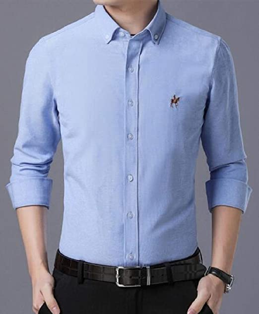 MK988 Men Cotton Long Sleeve Pure Color Formal Washed Slim Dress Work Shirt