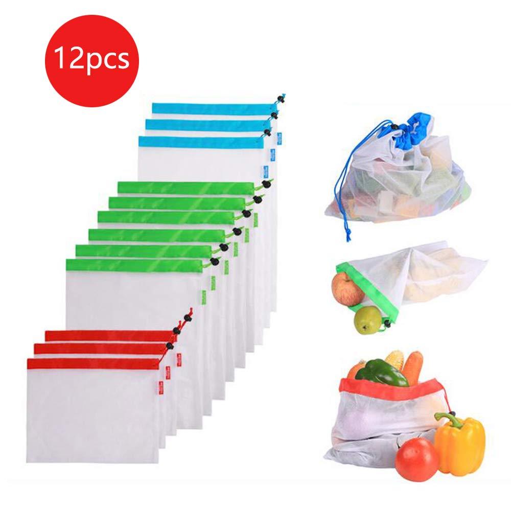 VOANZO 12pcs Fruits et L/égumes Maille Sac R/éutilisable Lavable Eco Lavable Sacs pour /Épicerie Stockage Fruits L/égumes Jouets