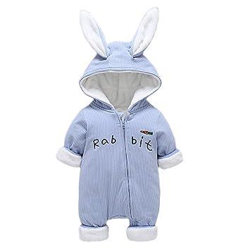 a59b91df7ac8 QSEFT Baby Romper Jumpsuit Cute Bunny Fleece Velvet Infant Clothing Winter  Baby Girls Boys Rompers Warm New Born Baby Newborn Clothes Snow Jumpsuit  3-18 ...