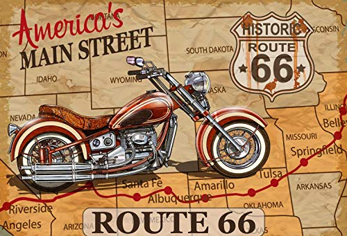 Vintage Motorcycle on Route 66 Map Scene Photo Backdrop for Party Decoration Retro Style Adventure Trip Photography Studio Background 7x5 ft - Americas Highway Route 66 Motorcycle