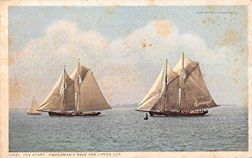 Fishermans Pub - Boats at start Fishermans race Lipton Cup by Detroit Pub antique pc Y10649