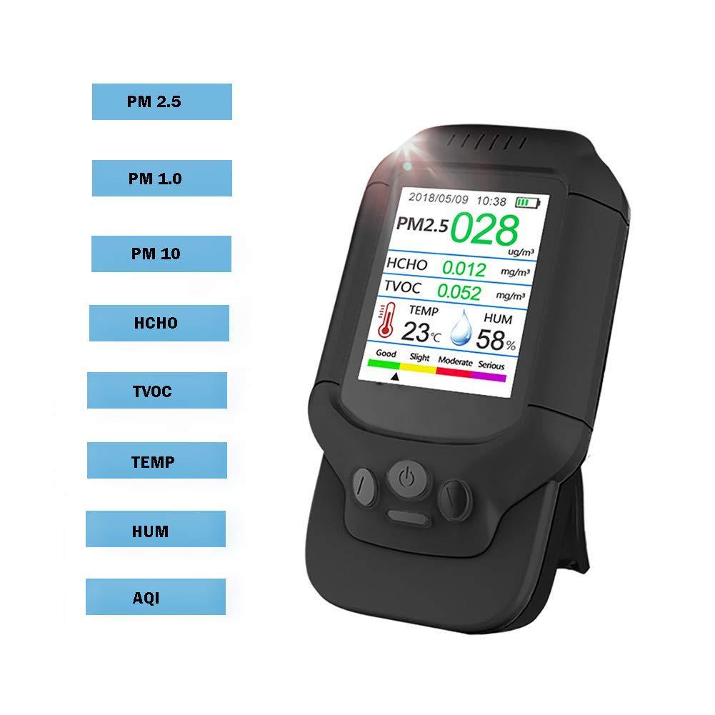Fambasis moniteur de qualit/é de lair int/érieur ext/érieur d/étecteur de formald/éhyde PM2.5 HCHO PM10 TVOC Testeur de test pr/écis d/étection de la pollution de l/'air PM1.0