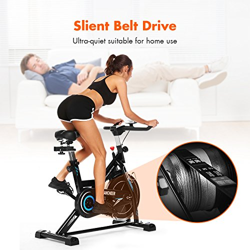 ANCHEER Belt Drive Indoor Cycling Bike, 49 LBS Flywheel Spin Bike (black)