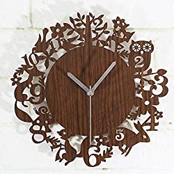 Wall Clock Cute Cartoon Wooden Wall Clock Simple Modern Design Forest Animals Wood Clocks Pastoral Style Bamboo Wall Watch Silent 12 Inch Living Room Bedroom Children'S Room Office Hotel Home Decor