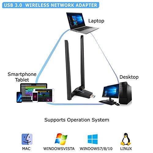 ANEWKODI AC1750Mbps USB WiFi Adapter USB 3 0 Double 5dBi - Import It All