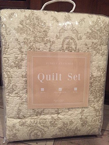 Finely Stitched Tan Cream Ivory Cameo Toile Medallion Floral KING 3pc Quilt Set NEW Country French