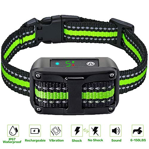 Bark Collar Large Small Dog, 2019 Rechargeable Anti Bark Collar-No Harm Shock Smart Detection Module-Dual Anti-Barking Modes-100% Waterproof No Barking Control Dog Shock Collar for Dogs
